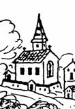 Kostel sv. Barbory v roce 1623, výřez z Aretinovy veduty