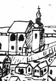 Kostel sv. Barbory v roce 1727, výřez z veduty