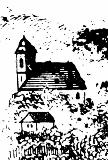 Kostel sv. Barbory v roce 1845, výřez z veduty